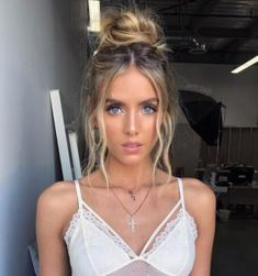 Messy High Bun with Loose Tendrils | Prom Hairstyles for Medium Hair