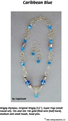 Capri Blue Wire and Beads Necklace Jewelry Making Project made with WigJig jewelry tools and jewelry supplies.