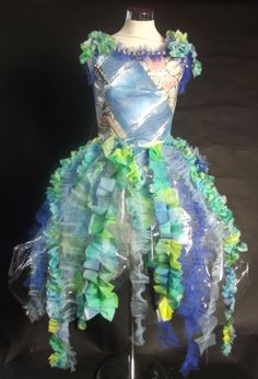 Sealife themed dress, paper and dyed silk. Higher outcome.