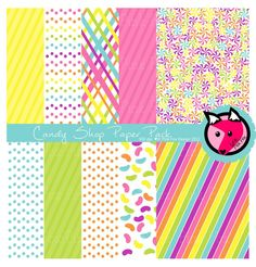 INSTANT DOWNLOAD - candy background - rainbow whimsical digital paper - printable paper - card maing, invite design, scrapbook.