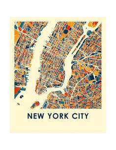 New York City Map Print Full Color Map Poster by iLikeMaps New York City Map, City Maps, Vintage Maps, Antique Maps, Love One Another Quotes, Map Quilt, City Map Poster, Map Posters, Map Design