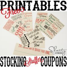 Free Printable Stocking Stuffer Coupons- I'm thinking these might be good for Christmas advent fillers