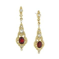 Downton Abbey Jewellery Collection Gold Tone Belle Epoch Oval Ruby Crystal Post…
