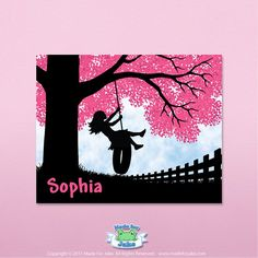 Girl Silhouette/tire swing/pink tree