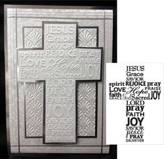 Darice Embossing Folders Cross with words folder Easter Sympathy Confirmation Cards, Baptism Cards, Easter Religious, Christian Cards, Easter Cross, Sympathy Cards, Greeting Cards, Sympathy Messages, Embossed Cards