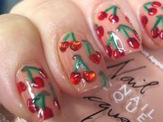 Cherry nails, I can't believe it! Fancy Nails, Cute Nails, Pretty Nails, Hair And Nails, My Nails, Prom Nails, Cherry Nails, Nine Inch Nails, Nail Envy
