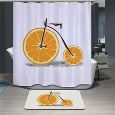 2 Sizes Eco-friendly Moldproof Shower Curtain Orange Bike Bathroom Products