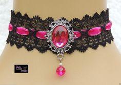 Black Lace Velvet Choker/ Necklace Hot Pink by darkcastledesigns