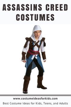 Assassin's Creed Costumes - Costume Ideas for Kids  Be strong against the Templars and support the troops during the Revolutionary War with this costume. The ensemble is composed of a combination of a long jacket and a shirt with an iconic hood. You'll definitely look great wearing the Assassin's Creed costume while Trick or Treating with friends and neighbors.