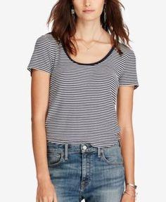 7c3f39e42c Denim   Supply Ralph Lauren Striped Scoop Neck T-Shirt Women - Tops - Macy s