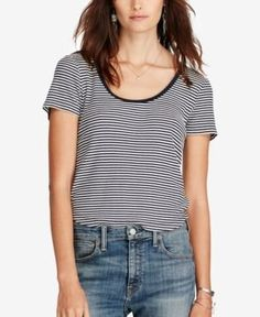 1b6c58a7172 Denim   Supply Ralph Lauren Striped Scoop Neck T-Shirt Women - Tops - Macy s
