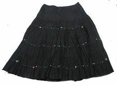 Lapis Women's Peasant Boho Black Skirt Size Medium Wooden Beads Full Casual   eBay