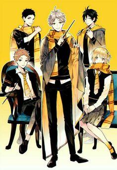 Haikyuu x Harry Potter (House Hufflepuff) Manga Haikyuu, Haikyuu Funny, Haikyuu Fanart, Manga Anime, Haikyuu Ships, Daisuga, Kuroken, Kagehina, Haikyuu Akaashi