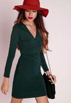 Long Sleeve Wrap Jersey Dress Forest Green