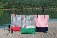 Monogram tote bag Personalized initial preppy nautical handbag by UpwardMark on Etsy