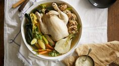 Spring chicken pot-au-feu, a delicious Sunday roast alternative. Cooking For Two, Cooking Time, Poached Chicken, Spring Chicken, Different Vegetables, Sunday Roast, Chicken Livers, I Want To Eat, Wine Recipes