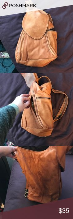 Italian leather backpack style purse Was a gift I never used. 4 outer zip pockets, 1 interior zip pocket. errepi Bags Shoulder Bags