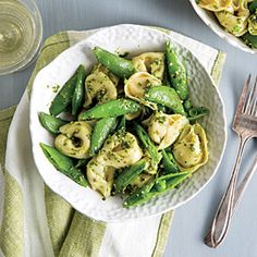 Tortellini with Snap Peas and Pesto