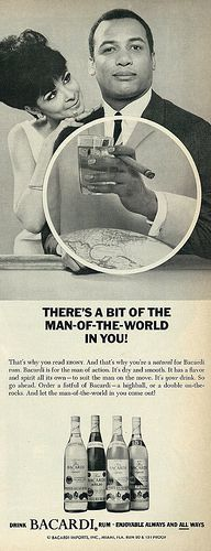 "1966 Liquor Ad, Bacardi Rum, ""Man of the World"" Smoking a Cigar | Flickr - Photo Sharing!"