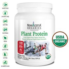 Pure Certified Organic Plant Protein Powder.  Only four ingredients (Organic Pea Protein, Organic Brown Rice Protein, Organic Hemp Protein and Organic Chia).  Nothing else!