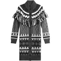 R.E.D. Valentino Alpaca-Virgin Wool Cardigan ($635) ❤ liked on Polyvore featuring tops, cardigans, grey, fringe tops, cardigan top, gray cardigan, red valentino top and red valentino