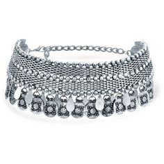 Bling Jewelry Bling Jewelry Rhodium Plated Alloy Indian Style Dangling... (235 ARS) ❤ liked on Polyvore featuring jewelry, necklaces, grey, grey necklace, indian choker necklace, indian choker, indian beaded jewelry and chain necklace