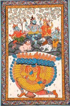 Ravana Disturbs Kailasha Orissa's Paata Painting. Water Color Painting on Patti  Artist: Rabi Behera (via Exotic India) Kerala Mural Painting, Madhubani Painting, Mughal Paintings, Indian Paintings, Ancient Indian Art, Ancient Art, Krishna Leela, Traditional Paintings, Traditional Art