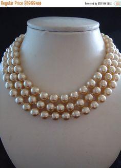 Vintage KJL Glass Faux Golden Pearl Beaded Necklace Designer Signed Kenneth Jay Lane Multi 3 Strand Runway Statement Jewelry by MartiniMermaid on Etsy https://www.etsy.com/listing/223400501/vintage-kjl-glass-faux-golden-pearl