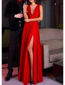 Красное Вечернее Макси Платье V-вырез Шифон