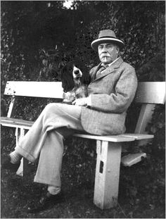 Edward Elgar was so fond of dogs he dedicated the 11th Enigma Variation to one - Dan, a bulldog owned by the organist of Hereford Cathedral. The composer had several dogs of his own over the years - here he is with his spaniel.