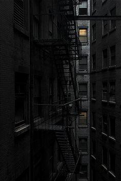 New Apartment Building City Fire Escape 70 Ideas Dark City, Fire Escape, Sombre, Nocturne, Shades Of Black, Black Magic, Black And White Photography, Dark Room Photography, Window Photography