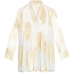 Diane von Furstenberg Layla Gold Foil Print Silk Blouse (7,605 DOP) ❤ liked on Polyvore featuring tops, blouses, gold, gold blouse, white silk blouse, loose blouse, white loose blouse and white 3/4 sleeve blouse