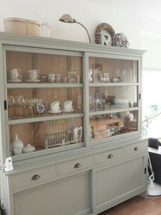 I adore this dresser - the sliding glass doors will keep the contents dust-free Furniture, Interior, Home, Cabinet, House Interior, Home Kitchens, Kitchen Style, Home And Living, Kitchen Design