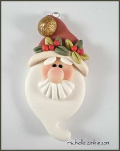 New Polymer Clay Holly Hat Santa Bead by michellesclaybeads