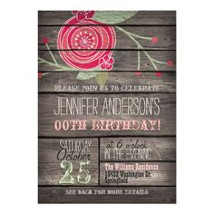 329 best teens birthday party invitations images on pinterest in pink flower rustic country adult or teen birthday invitation filmwisefo