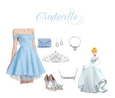 """Cinderella ball gown outfit♡"" by princessblushie on Polyvore featuring Disney, Kate Marie, Plukka and Apt. 9"