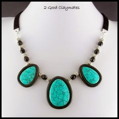 2 Good Claymates: Faux Green Turquoise CaBezel Necklace and Earrings...