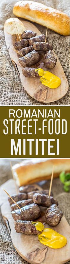 Mititei/Mici are the most popular Romanian street food, traditionally made from ground beef and blended with a million spices and herbs. Romania Food, Gluten Free Beer, Good Food, Yummy Food, Bratwurst, Rind, International Recipes, Ground Beef, Carne