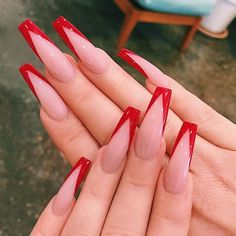 Long Nail Art, Red Nail Art, Red Acrylic Nails, Gel Nails, Nail Polish, Red Tip Nails, Red Ombre Nails, Cute Red Nails, Red And White Nails