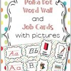 Just laminate the job cards and hang on a pretty ribbon! ABC/Word Wall cards include basic and d'nealian fonts! Vowels are in a  different color. T...