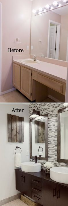 37 Small Bathroom Makeovers Looking to remodel and show off your bathroom? Here are 37 small bathroom makeovers to give your bathroom the attention it deserves. Diy Bathroom Remodel, Bath Remodel, Paint Bathroom, Budget Bathroom, Mirror Bathroom, Bathroom Vanities, Bathroom Cabinets, Shower Mirror, Kitchen Cabinets