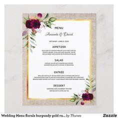 Shop Wedding Menu florals burgundy gold rustic burlap created by Thunes. Grilled Cod, Grilled Beef, Mushroom Salad, Wedding Menu, Rustic Wedding, Orange Salad, Fruit Salsa, Braised Beef, Burgundy And Gold