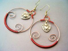 Copper Earrings with Hearts  Handmade Copper by GearsFactory, €15.00