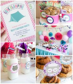 Glamping Camping themed birthday party via Kara's Party Ideas KarasPartyIdeas.com Party decor, printables, invitations, cakes, favors, etc! #glamping #glampingparty #slumberparty (2)