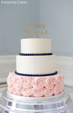 big wedding cakes Blue and blush buttercream wedding cake - cake by Kasserina Cakes - CakesDecor Blue And Blush Wedding, Blush Wedding Cakes, Big Wedding Cakes, Buttercream Wedding Cake, Wedding Cake Designs, Wedding Cake Toppers, Buttercream Ideas, Wedding Cake Simple, Quinceanera Cakes