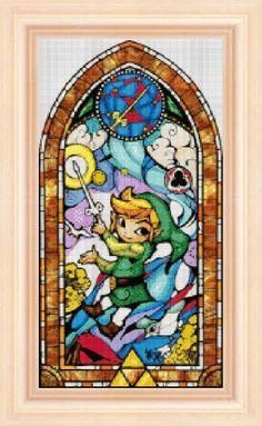 Legend of Zelda stained glass 5 cross stitch por NeniDesign