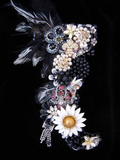CJ Borden. Roxy Vintage Jewelry Art Boot Black & White Jeweled Boot Jewelry Wall Art  - pinned by pin4etsy.com. ArtCreationsByCJ.com
