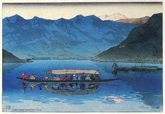 Dal Lake, Kashmir  by Charles W. Bartlett, 1916  (published by Watanabe Shozaburo)