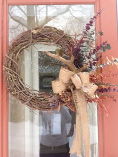 Rustic winter wreath with antler