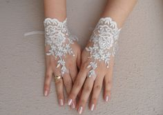 ivory wedding glove ivory silver embroidered lace by Worldofgloves, $25.00
